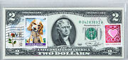 1976 2 Two Dollar Bill Unc Federal Reserve Bank Notes Usps Forever Stamp Spaniel