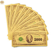 10pcs/lot 1918 Us Gold Banknote 5000 Dollar Plated Gold Money Note Collection