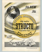 1958 Paper Ad 2 Pg Structo Toy Trucks 50 Year Anniversary Missile Launcher
