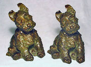 Scottie Dog/antique Grey Metal Bookends By Mcclellend Barclay Circa 1932