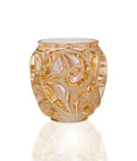 Lalique Tourbillons Small Vase Height 12cm / 5andrdquo Gold Luster 10543800