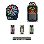 Complete Electronic Dartboard Package With Cabinet Throw Line Soft Tip Darts