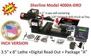 Sherline 4100a Dro 3.5 X 8 Lathe Metric + The A Package + Digital Readout