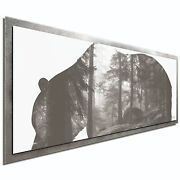 Grizzly Bear Forest Contemporary Metal Art Modern Animal Landscape Silhouette