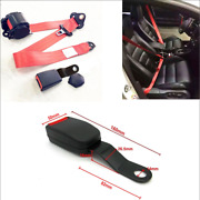 Red Color 3 Point Retractable Car Safety Seat Belts Lap High Strength Polyester