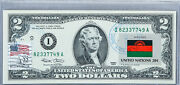 Two Dollar Note Paper Money Us Currency Federal Reserve 2 2003 Unc Flag Malawi
