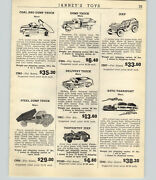 1947 Paper Ad Marx Toy Trucks Dump Delivery Jeep Tootsietoy Tanker Bus Jumbo