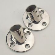 Qty2 Boat Hand Rail Fittings 60 Degree 1 Round Base Marine Stainless Steel Well