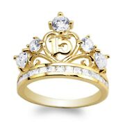Jamesjenny Ladies 10k/14k Yellow Gold 15 Anos Quinceanera Ring Size5-10