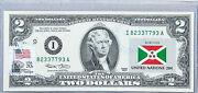 2 Dollar Stamp Cancelled Paper Money Us Currency Notes Uncirculated Flag Burundi