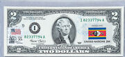 National Currency Note Two Dollar Bill Paper Money Us Unc Stamped Flag Swaziland