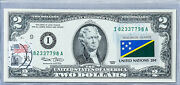 Uncirculated 2 Dollar Bill Us Currency Note 2003 Gift Stamp Flag Solomon Islands
