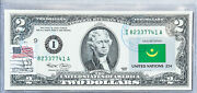 Federal Reserve Bank Note Us Currency Paper Money 2 Unique Gift Flag Mauritania