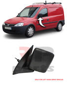 For Vauxhall Opel Combo C 2002 - 2010 Wing Mirror Black Manual Left N/s Lhd