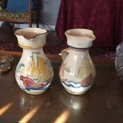 Antique English Pottery Pair Of Handpainted Ships Jugs Pitchers Terra-cotta
