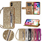 Glitter Bling Leather Zipper Wallet Case Cover For Iphone 12/11 Pro Max/xs/x/78+