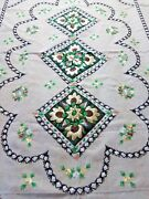 Vintage Hand Embroidered Jute Tablecloth 78 X 54 Rectangle Floral Design