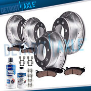 4wd Front And Rear Drilled Rotors + Brake Pads For 2000-2004 Ford F-250 Super Duty