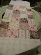Hand M.shabby Chic Patchwork Pink Roses 1 Of A Kind Table Dresser Runner 85x17