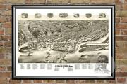 Old Map Of Dubuque, Ia From 1889 - Vintage Iowa Art, Historic Decor
