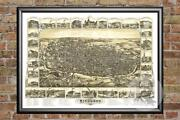 Old Map Of Richmond, In From 1884 - Vintage Indiana Art, Historic Decor