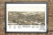 Old Map Of Bellevue, Oh From 1880 - Vintage Ohio Art, Historic Decor
