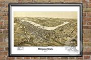 Old Map Of Morgantown, Wv From 1897 - Vintage West Virginia Art, Historic Decor