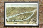 Old Map Of Wheeling Wv From 1870 - Vintage West Virginia Art Historic Decor