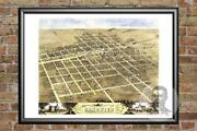 Old Map Of Sandwich Il From 1869 - Vintage Illinois Art Historic Decor