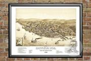Old Map Of Bayfield, Wi From 1886 - Vintage Wisconsin Art, Historic Decor