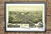 Old Map Of Woodsfield, Oh From 1899 - Vintage Ohio Art, Historic Decor