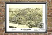 Old Map Of Mckees Rocks Pa From 1901 - Vintage Pennsylvania Art Historic Decor