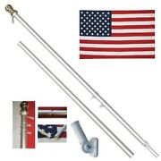 American Flag Pole Kit Wall Mount 6 Ft Spinning 3and039x5and039 Us Flag Gold Ball Aluminum