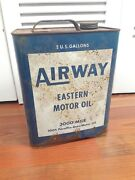 Rare United States Airway Eastern Motor Oil 2 Gallon Can Vintage Antique