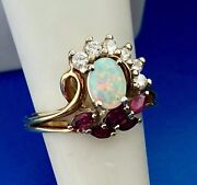 Vintage Gemco 18k Yellow Gold Opal Ruby Diamond Free Form Cocktail Ring