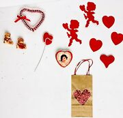 Lot Vintage Valentine Table Window Decorations W/ Small Figures Hearts Die Cut