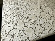 Fruit And Cabbage Roses Vintage Hand Embroidery Linen Tablecloth 66x102