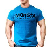 New Menand039s Monsta Clothing Fitness Gym T-shirt - Sig 31 - Black