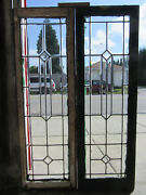 Pair Antique Full Beveled Leaded Glass Sidelites 18 X 55 Each Salvage
