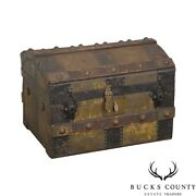 Antique Salesman Sample Or Doll Travel Dome Top Steamer Trunk