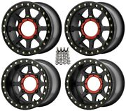 Kmc Addict 2 Beadlk Atv Wheels Black 14x7/14x10 Kawasaki Brute Force Irs 4