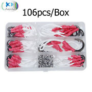 106pcs Stainless Steel Assist Bait Fishing Hook With Pe Line Split Ring Tackles