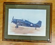 Military Lithograph Signed By Joe Foss Wwii Military Hero 1st Commisioner Of Afl