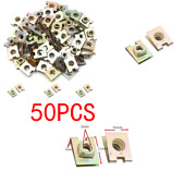 50pcs M6 Fixing Car Panel Wiresandcables Metal Spring U-type Plate Nut Speed Clips