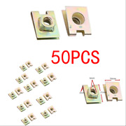 50xcopper Tone Metal Spring U-type Plate Nut Speed Clip M6 For Car Panel Defense