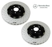 Pair Set Of 2 Front Drilled Slotted Vented Disc Rotors Genuine For Cl65 S65 Amg