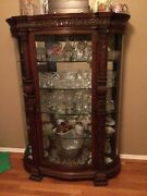 Antique China Buffet. Rounded Glass Sided Glass Front And Glass Shelves.andnbsp