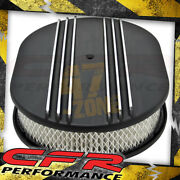 Chevy Ford Mopar Al 12 Oval Air Cleaner Paper Filter Polished Partial Finned