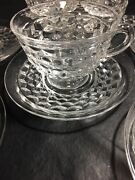 5 - Vintage Fostoria American Cube Clear Glass Cup And Saucer Sets