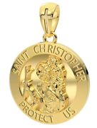 Menand039s Heavy Solid 14k Yellow Gold St Saint Christopher Medal Round Pendant